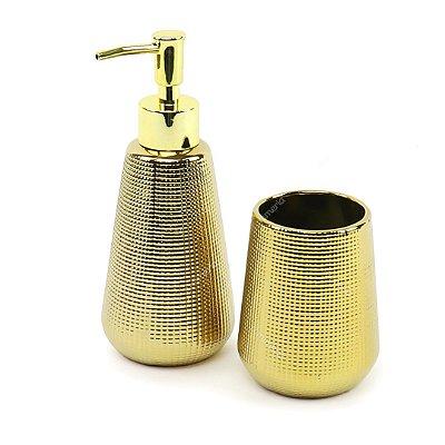 Kit de Banheiro em Cerâmica Dourado