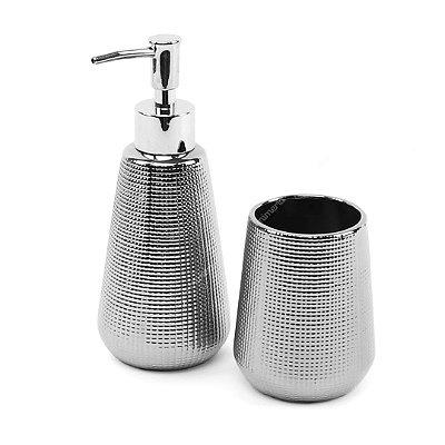 Kit de Banheiro em Cerâmica Prata