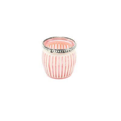 Castiçal de Vidro Marroquino Listras Branco e Rosa