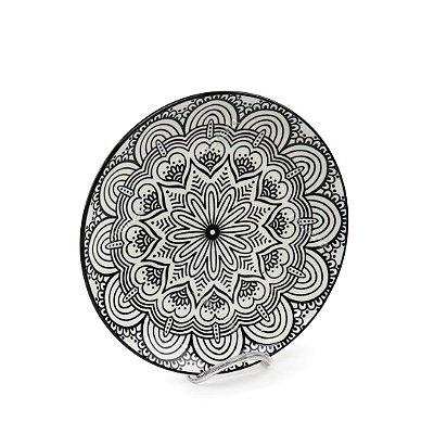 Prato Raso em Porcelana Decorativo Mandala Preto e Branco