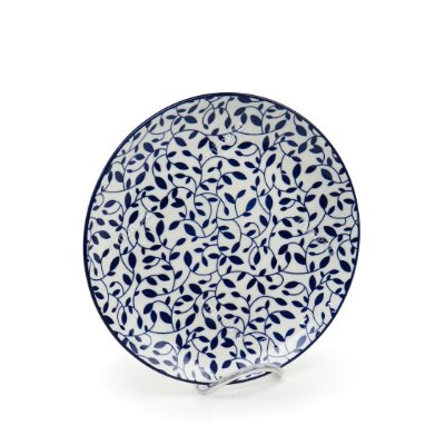 Prato Raso em Porcelana Decorativo Floral Azul e Branco