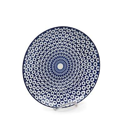Prato Raso em Porcelana Decorativo Geométrico Circular Azul e Branco