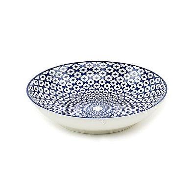 Prato Fundo em Porcelana Decorativo Geométrico Azul e Branco