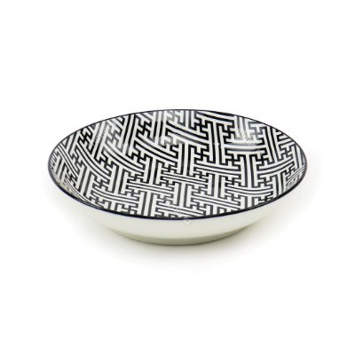 Prato Fundo em Porcelana Decorativo Grego Preto e Branco