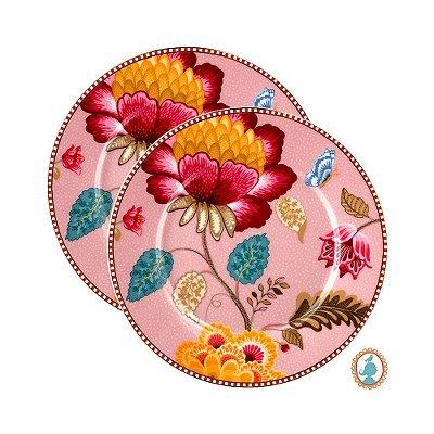 Set/2 Pratos de Pão Rosa Floral Fantasy Pip Studio