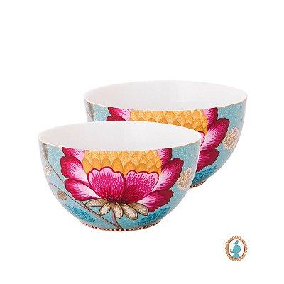 Set/2 Tigela 15 Azul Floral Fantasy Pip Studio