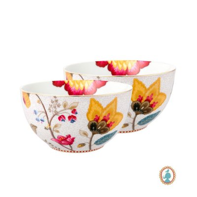 Set/2 Tigela 15 Branco Floral Fantasy Pip Studio