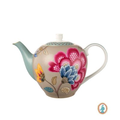 Bule Azul e Cáqui Floral Fantasy Pip Studio