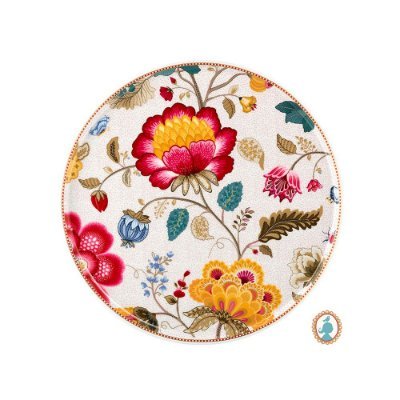 Prato para Bolo Branco Floral Fantasy Pip Studio