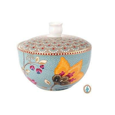 Pote para Algodão Azul Floral Fantasy Pip Studio