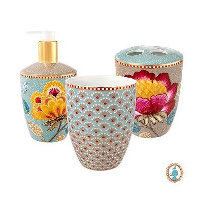 Set/3 Acessórios de Banheiro Azul e Cáqui Floral Fantasy Pip Studio