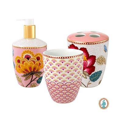 Set/3 Acessórios de Banheiro Rosa e Branco Floral Fantasy Pip Studio
