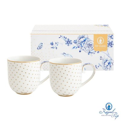 Set/2 Canecas Pequenas Royal White Pip Studio