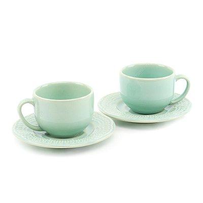 Conjunto de Xícaras de Chá 2 Peças Madeleine Verde Porto Brasil