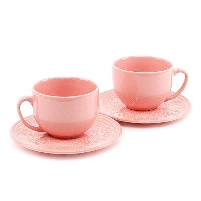 Conjunto de Xícaras de Chá 2 Peças Agra Rosa Porto Brasil