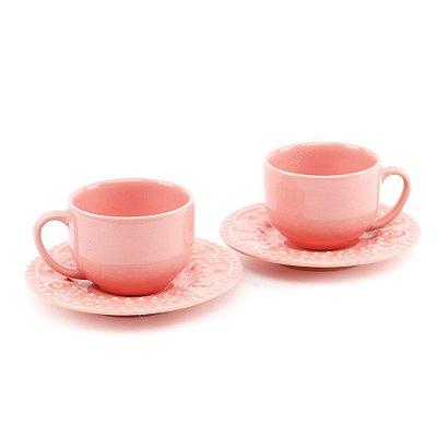 Conjunto Xícaras de Chá 2 Peças Esparta Rosa Porto Brasil