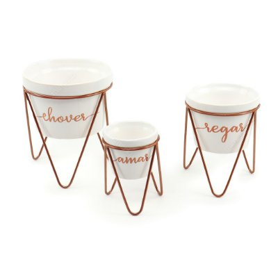 Trio de Vasos Branco com Suporte Chover Regar e Amar