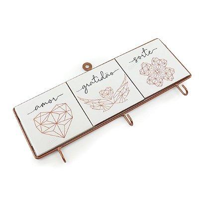 Porta Chaves de Ferro Origami Amor Gratidão e Sorte