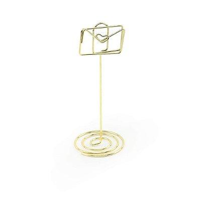 Clipe Porta Recados Cartinha Dourado