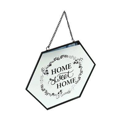 Espelho de Metal e Vidro Hexagonal Home Sweet Home