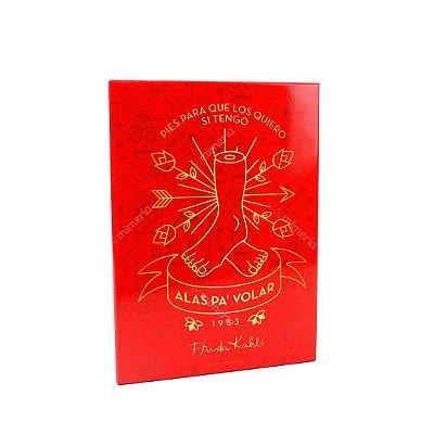 Placa de Metal Decorativa Frida Kahlo Pés e Asas para Voar Vermelha