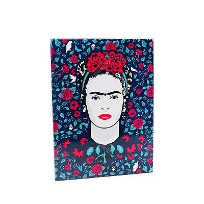 Placa de Metal Decorativa Frida Kahlo Pássaros e Flores Azul