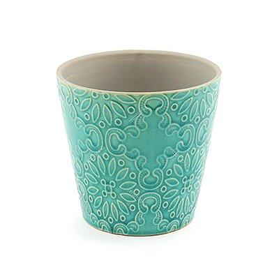 Vaso em Cerâmica Decorativo Flores Verde Grande