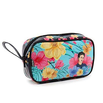 Necessaire Estampada Média Frida Kahlo Floral Azul