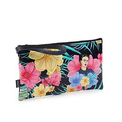 Carteira Flat Estampada Média Frida Kahlo Floral Preta