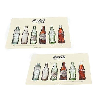 Jogo Americano Garrafas Coca-Cola Bege 2 Peças