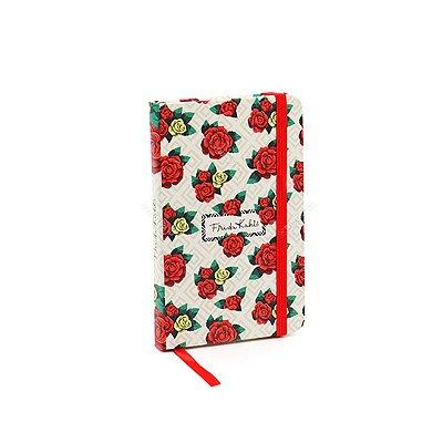 Caderneta com Elástico Frida Kahlo Geométrica Flores Coloridas