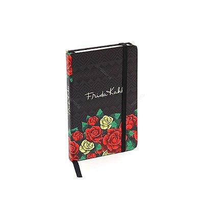 Caderneta com Elástico Frida Kahlo Flores Vermelhas Preta