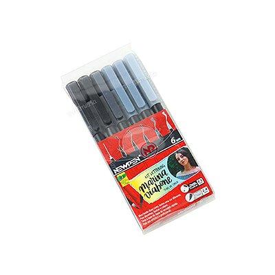 Kit Canetas Brush Pen Newpen com 6 Tons de Cinza