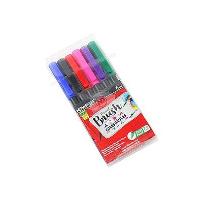Kit Canetas Brush Pen Newpen com 6 Cores Básicas