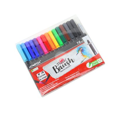Kit Canetas Brush Pen Newpen com 16 Cores com Blender