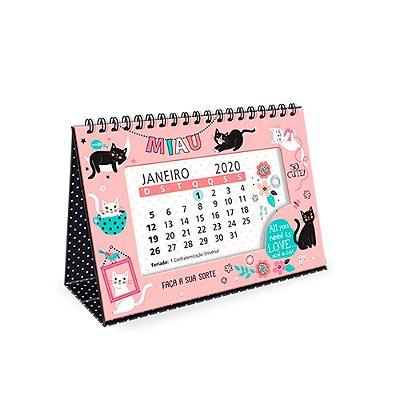 Calendário de Mesa 2020 Decorado Gatos