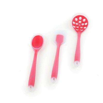 Kit de Utensílios de Silicone Circa 3 Peças com Escumadeira Vermelho