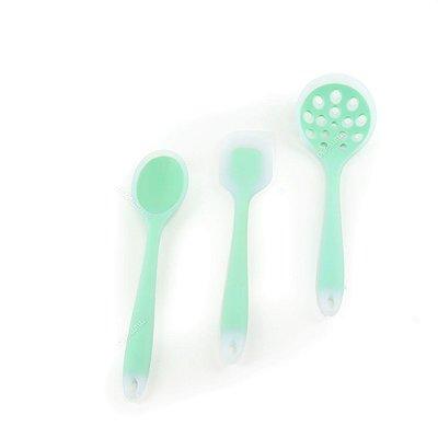 Kit de Utensílios de Silicone Circa 3 Peças com Escumadeira Verde