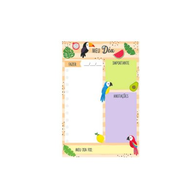 Bloco Planner de Mesa Diário Tropical Bege