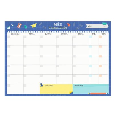 Bloco Planner de Mesa Mensal Escolar Azul
