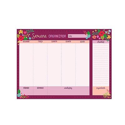 Bloco Planner de Mesa Semanal Floral Rosa Escuro