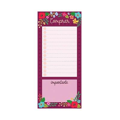 Bloco de Notas Imã Lista de Compras Floral Rosa Escuro