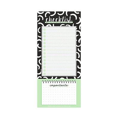 Bloco de Notas Imã Checklist Preto e Branco