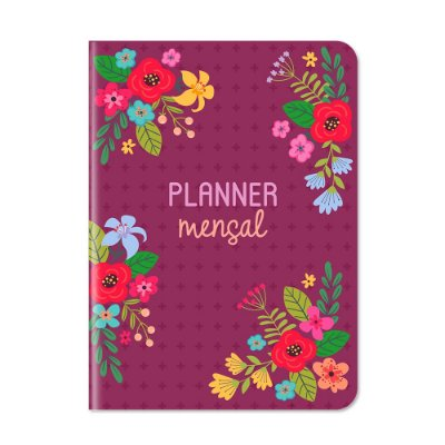 Planner Mensal Floral Rosa Escuro