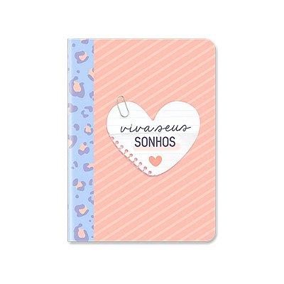 Caderneta Pontada Viva Seus Sonhos Animal Print Rosa e Azul
