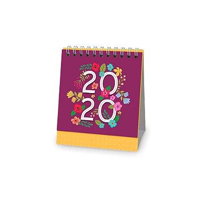 Calendário de Mesa 2020 Floral Rosa Escuro Pequeno