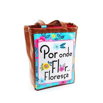 Bolsa Sacola Pequena Floral Turquesa