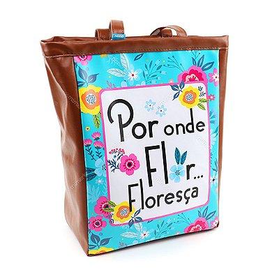 Bolsa Sacola Floral Turquesa