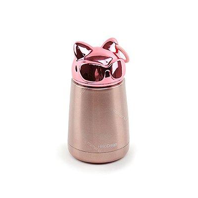Garrafa Térmica de Inox a Vácuo Gato Rosa