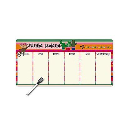 Planner Semanal Frida Colores e Macaquinha Magnético com Caneta